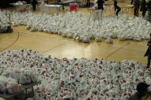 Baskets and bags of Thanksgiving food ready to be delivered around the Chicagoland area.