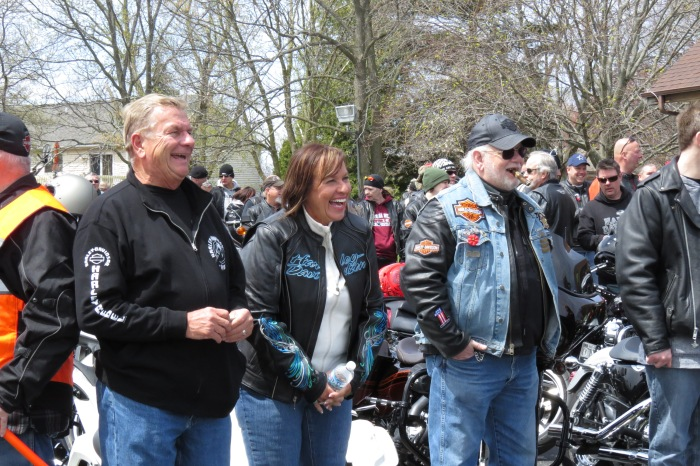 Keith Ulicki (left) standing next to his wife Nanc. Nanc was the one who invited me on the ride after I went out to cover their inaugural ride of the season and the Frank Ulicki memorial ride a month prior to the Blessings event. They provided me with a jacket and helmet for the day.