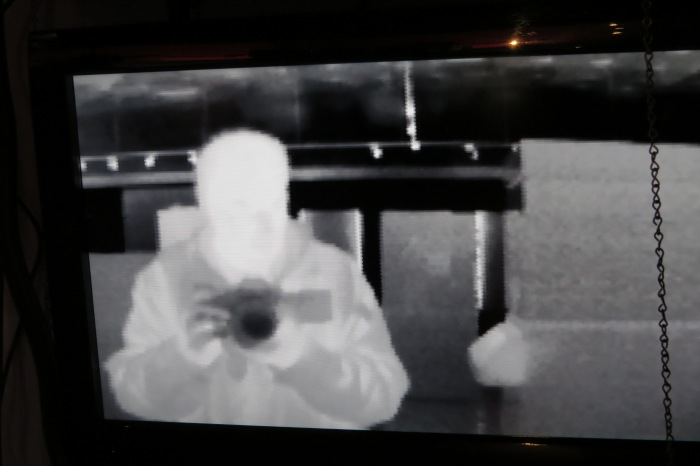 I decided to have a little fun with the infrared camera in the Visitor's Center. The Infrared camera detects light from 7-14 microns. Holding up various objects to the camera may result in each object being transparent or opaque. Science is awesome!