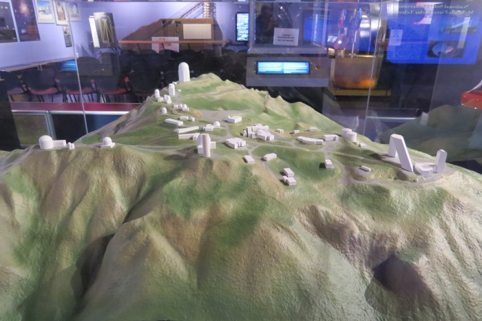 Kitt Peak lies on 200 acres on top of the Quinlan mountain range. Here is a geographical mini-model of the layout of the observatory. Visitors can walk up to a quarter mile to get from one telescope to another. It took 3 years of research before scientists agreed on Kitt Peak as the sight for the observatory.