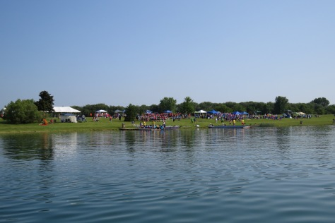 The rescue boat in place. We are waiting for the racers for the first heat. Under sunny skies, it is a perfect day for racing on Lake Andrea.