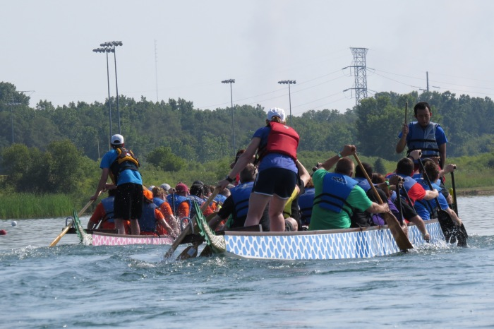 A steerperson is always standing at the stern of the 42 foot long boat using a 9 foot oar as a rudder.