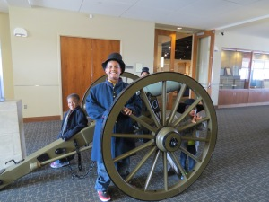 Young visitors posing with the Model 1841 6 Pounder Gun. The 6 pounders were used during the beginning of the war only to be replaced by newer models with increased range and firepower.