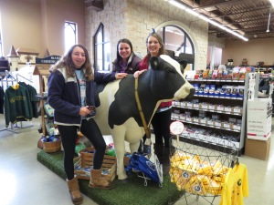 On their way back to Illinois, Rachel, Brooke and Lauren (left-right) pose with Isabella the Holstein cow.